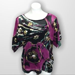 MARCIANO Silk Short Sleeve Blouse Size XS